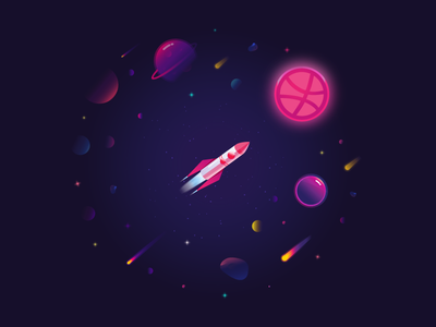 Hello Dribbble rocket planet space gradient illustration dribbble hello invite shot first debut