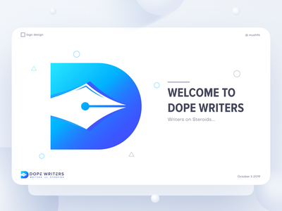 D logo mark for Dope Writers illustrator color logo mushfik steroids writers dope vector posters typography branding poster design app icon mark icon logo gradient