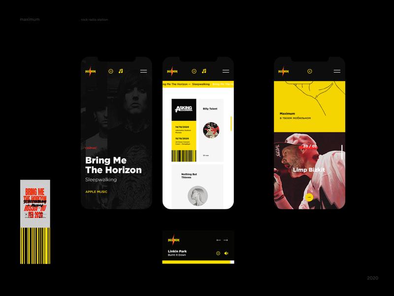 rock radio mobile pages 2020 radio station music maximum metal rock radio design web ui mobile ui mobile