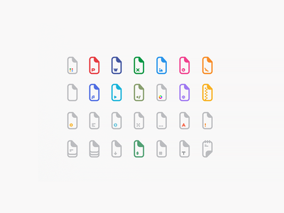 Files extensions icons icon design icons pack icon set iconography ui design txt notepad music powerpoint color vector png extension file files icons icon