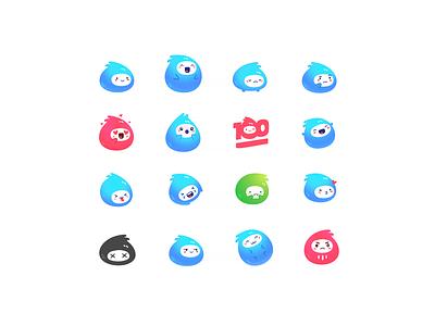 Jelly Bubble Kawaii Emoji / Stickers emoji set pack icon illustration cute design ui jelly kids funny gradient vector emotions sticker emoji cartoon kawaii