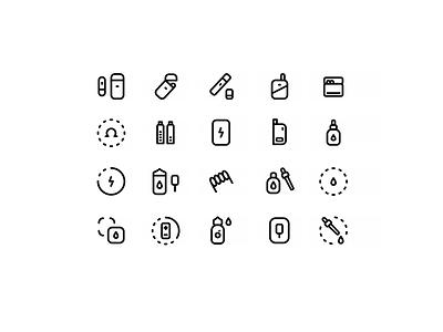 Ecigarette set icons outline website web icon design icon set vector ui