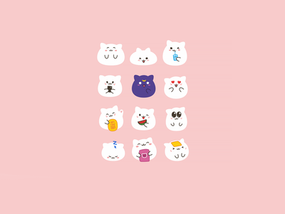 Cute kawaii emoji cats vol.1 set cute illustration cute animals kawaii art funny cats set emoji kawaii cute