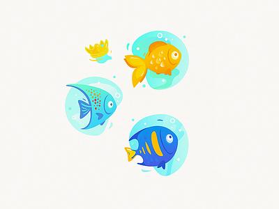Super-Colorful Cute Fishies cute gold fish fish characters cartoon illustration vector