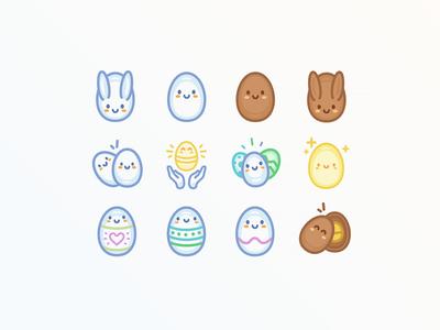 Easter Icon set bunny easter bunny illustration design icon egg easter