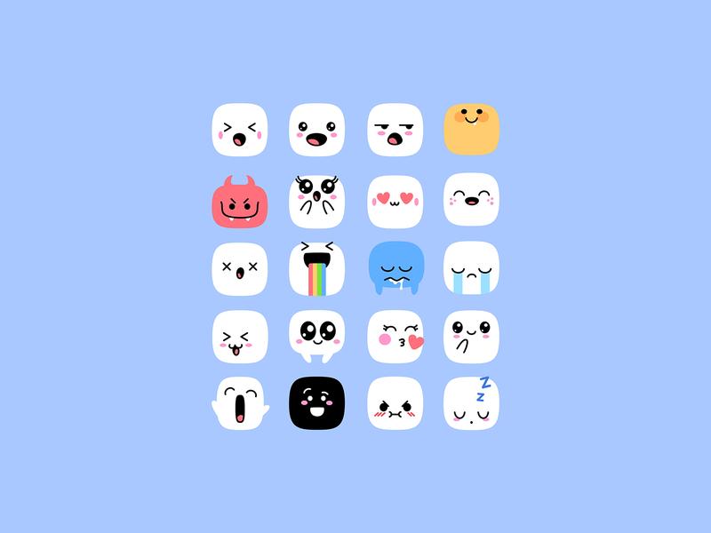 Cute Kawaii Emoji Set download cute kawaii smiles emoji