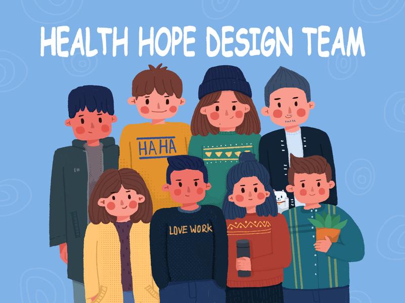 health hope design team freehand illustration 插图