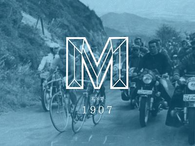 M 2 m logo bicycle vintage retro type tour de france