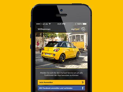 myOpel welcome screen myopel opel app ios 7 car facebook login