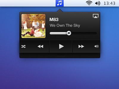 Music Widget widget itunes music player ui design m83 airplay mac ux ios music player ui design