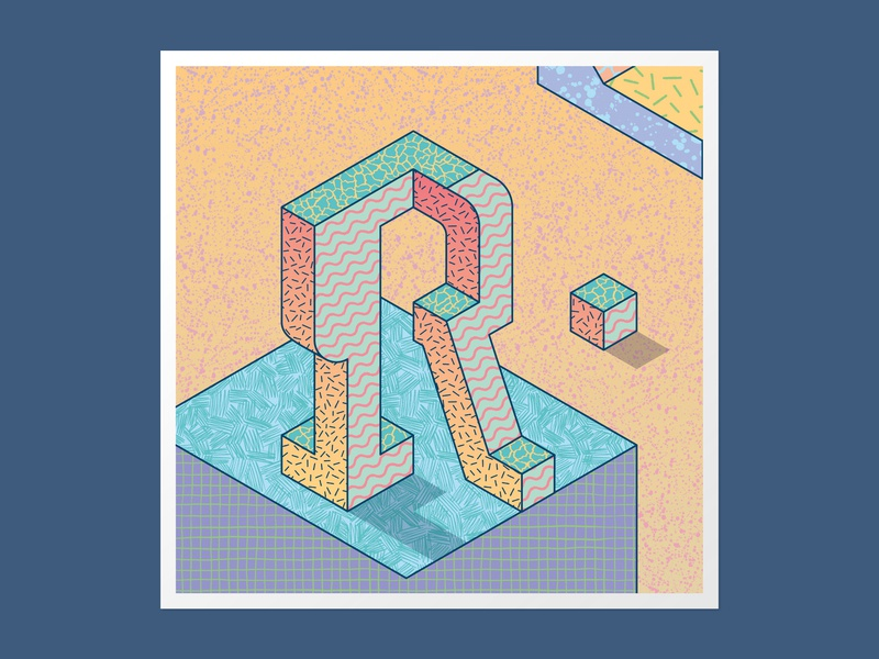Isometric R 36days-r customtype vector adobe illustrator 36 days of type 36daysoftype handlettering type daily 3dlettering