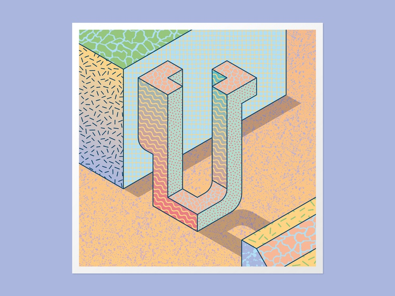 Isometric U textures 36days-u vector lettering illustration handlettering 3dlettering typography 36 days of type 36daysoftype adobe illustrator customtype
