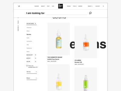 Deciem Products Page categories products page products product minimalistic website minimalism black and white menu search engine search bar search ecommerce shop ecommerce web redesign ux ui webdesign ui design