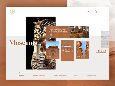 Egyptian Museums Website redesign redesign concept website redesign vacation landingpage desert egypt website egypt traveling museum website museum travel website travel webdesign ui ui design