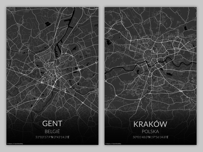 Grayscale city maps poster design belgium gent krakow polska newbie affinity designer affinitydesigner city grayscale maps mapbox