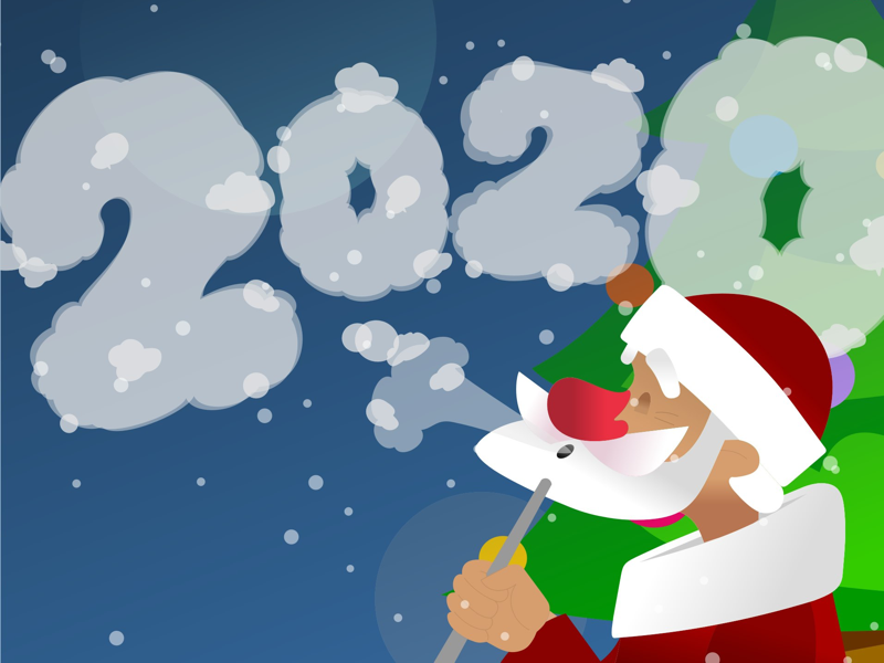 Illustration for Christmas Hookah Event 2020 winter smoke hookah santa new year