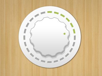 Simple Dial dial volume matt wood green turn ui interface photoshop clean white soft simple