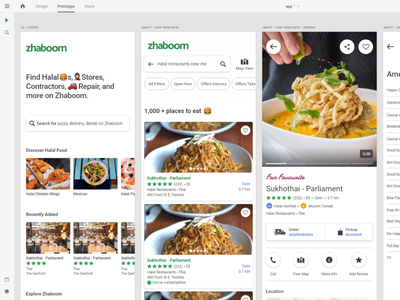 Material design flow in Zhaboom App. google review yelp review directory application app design adobexd adobe xd adobe app mobile design user interface clean user experience ux ui ui design quarantine zhaboom
