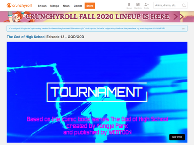 Crunchyroll - Skip Into CTA design adobe xd ui user interface clean ui design ux design user experience ux crunchyroll skip intro