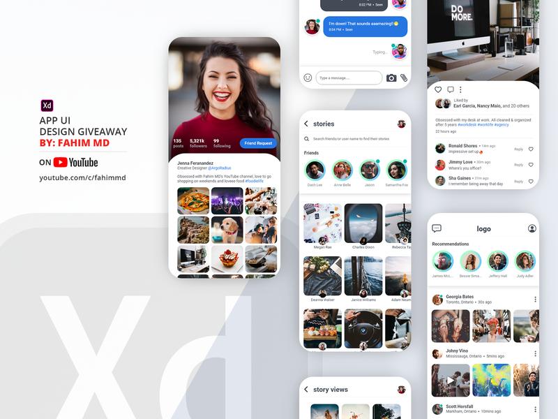 Download Free App UI Design | Adobe XD design clean user interface ui design iphone android ui app mobile design mobile ux