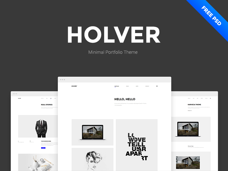 Holver Free Portfolio Psd Template By Clapat Dribbble Dribbble