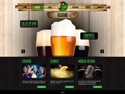 Iguana Web web iguana bar lounge pub web site ui