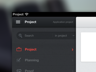 Project management application ui ipad dark blue gray navigation search select