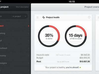 Project health gray indicator pie ipad dark blue ui health economy budget