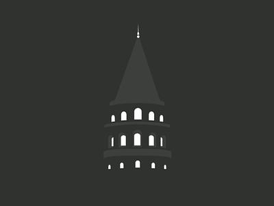 Galata Tower galata tourism architecture inkscape flat logo tower turkey istanbul minimal vector