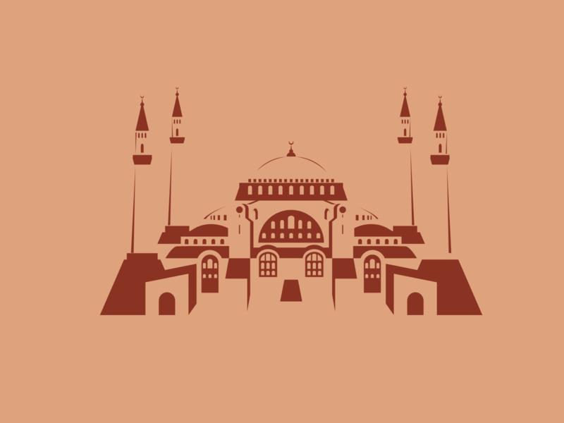 Hagia Sophia turkey inkscape ottoman empire rome christianity islam mosque minimal negative space illustration history hagia sophia istanbul ayasofya