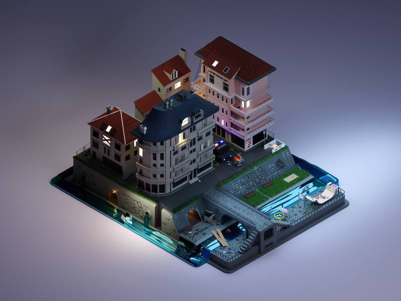 Sofia city skaters graffiti urban city illustration lowpoly lowpoly3d isometric cyclesrender cycles sofia city blender 3d