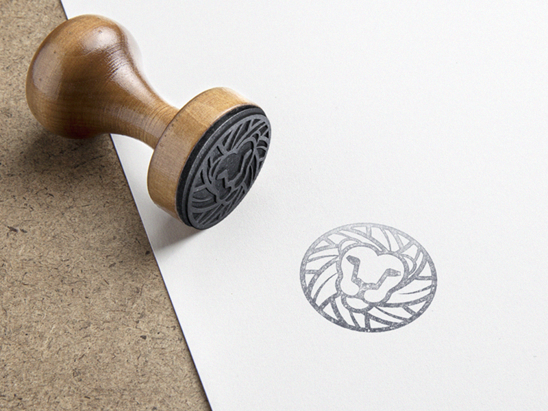 Lion Mark  mockup lion mark logo circle stroke contur gray scale black rubber stamp