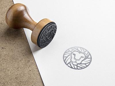 Lion Mark  mockup lion mark logo circle stroke contur gray scale black rubber stamp