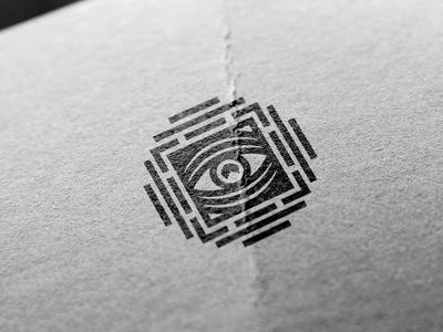 Eye Mark labirint mark logo stroke contur gray black paper stamp eye illuminati