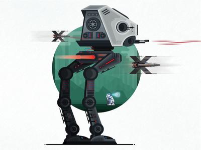 AT-ST Walker fighter xwing illustration vector rebels r2d2 flat walker endor lava star wars