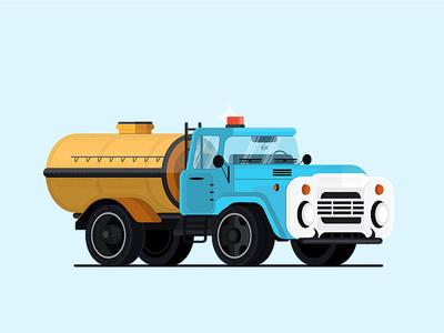 ZiL - 130 icon tank blue emergency zil soviet flat isometric noise vector truck