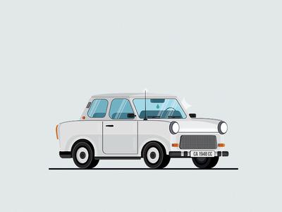 Trabant hipster gray socialistic trabant soviet flat isometric noise vector vintage icon