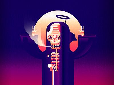 Death Metal noise pink gradient bones god cigarette smoke roll rock metal death