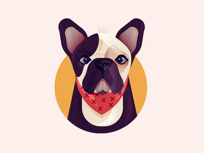 Doggy sharp vector sweat ears puppy pug bulldog dog