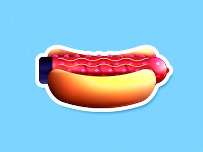 Hot Dildog joke funny sauce pink sticker erotic sausage junk food dildo hot dog