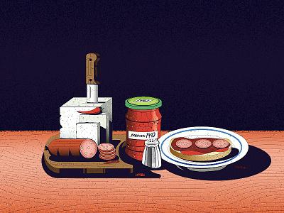 Nature Morte cuisine slavic sausage cheese texture food village balkans dissolve noise illustration nature morte