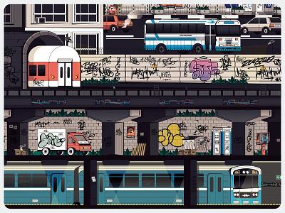 Sofia City 1/4 underground illustration isometric town city vandalism tags urban capital panorama sofia graffiti