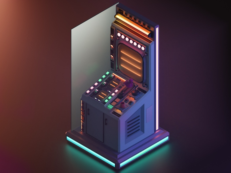 Space terminal lowpoly low blur red neon 3d art lights panel space 2.8 blender 3d isometric illustration