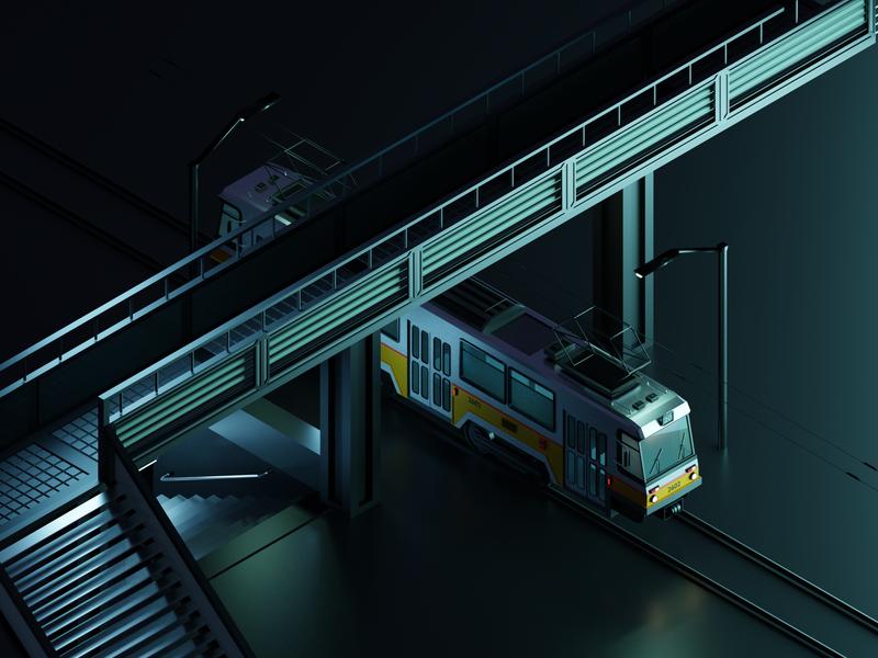 Sofia Tram city trolley sofia lights illustration render underground low poly art 3d modeling 3d art tram dark blender urban low poly isometric