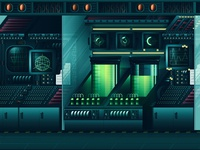 SciFi Laboratory - floor -1 editorial red isometric texture noise flat illustration vector 3d