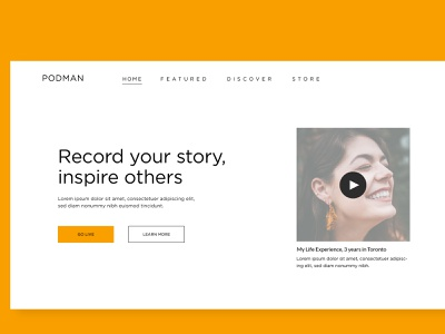 Rebound - PodMan Homepage streaming podcast landing page desktop branding web design