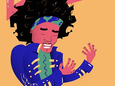 Voodoo Child jimi guitar 60 psychedelic rock modern digital illustration music hendrix