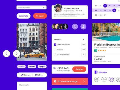 UX UI Rebranding / Sistema de interfaz flight hotel ui kit visual brand despegar mobile app travel sketch ui ux