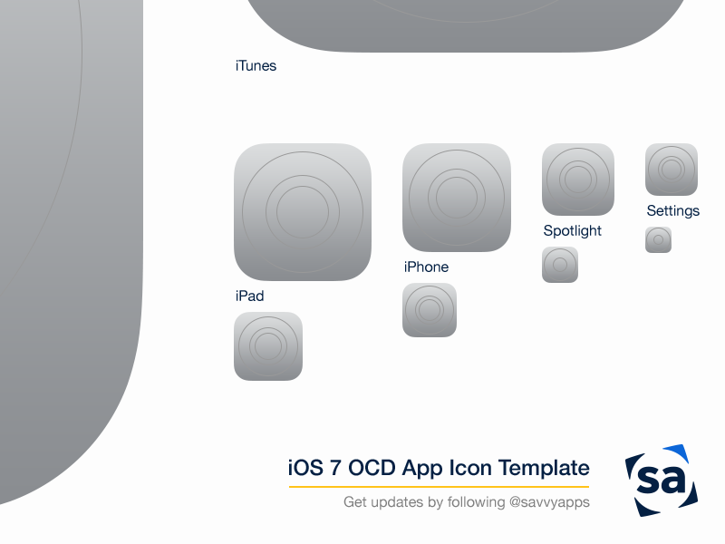IOS 7 OCD App Icon Template Psd Ios Iphone Ipad Download Resource Savvy Apps