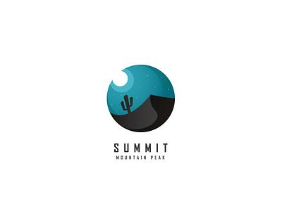 Summit - Mountain Peak night moon desert mountain clever logo summit xalion 3d colorful